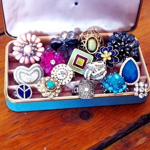 Huge Bundle of Fashion/Statement Rings 16 Total!